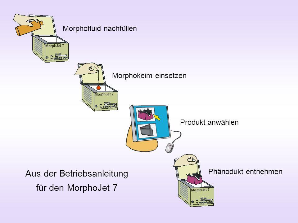 Morphofluid nachfüllen Morphokeim einsetzen Produkt anwählen Phänodukt entnehmen Aus der Betriebsanleitung für den MorphoJet 7