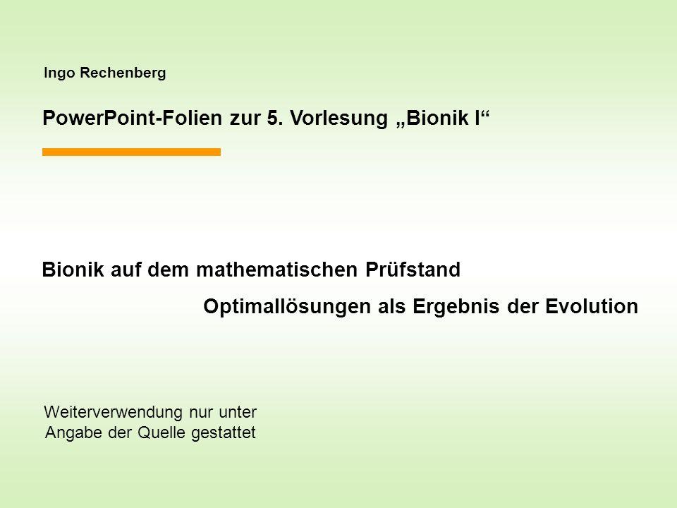 Ingo Rechenberg PowerPoint-Folien zur 5. Vorlesung Bionik I Bionik auf dem mathematischen Prüfstand Optimallösungen als Ergebnis der Evolution Weiterv