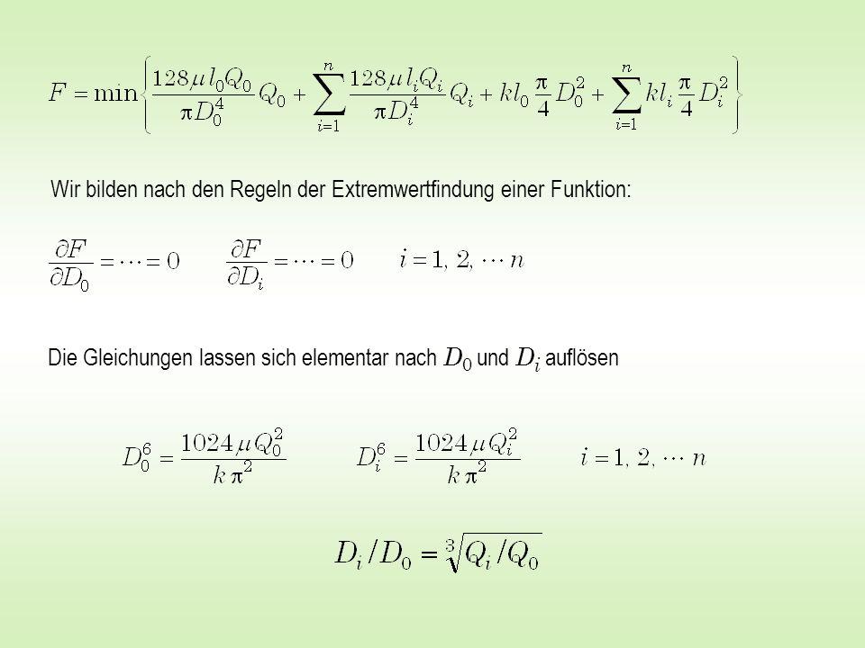 Wir bilden nach den Regeln der Extremwertfindung einer Funktion: Die Gleichungen lassen sich elementar nach D 0 und D i auflösen