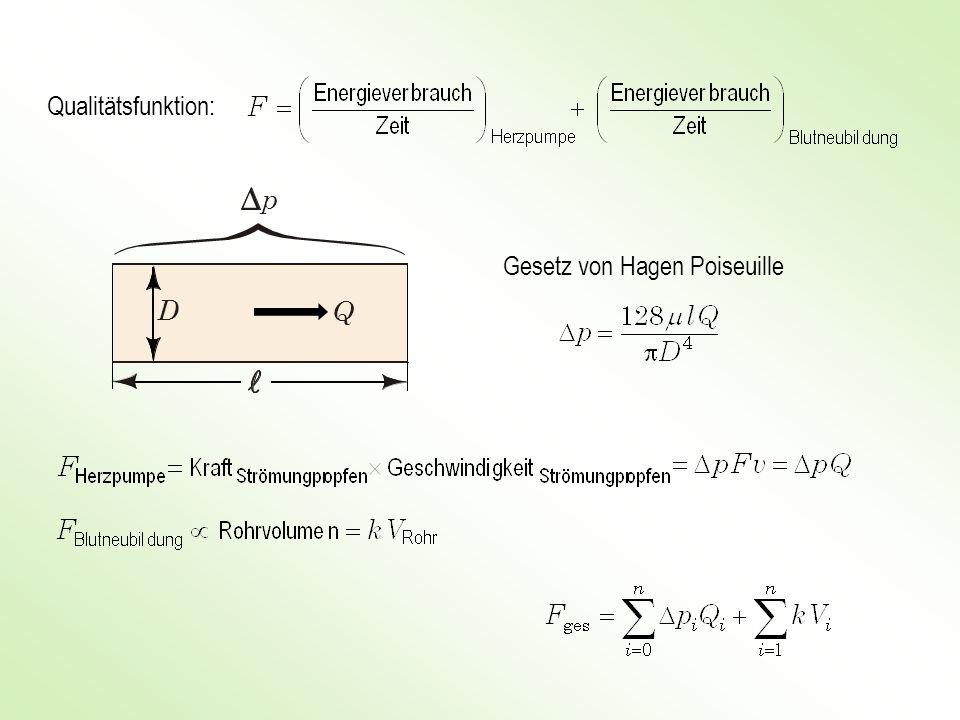 Qualitätsfunktion: Gesetz von Hagen Poiseuille p D Q