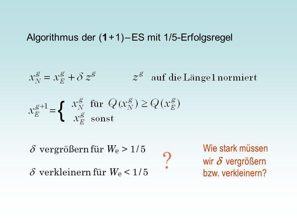 Algorithmus der (1 + 1) – ES mit 1/5-Erfolgsregel { vergrößern für W e > 1 / 5 verkleinern für W e < 1 / 5 .