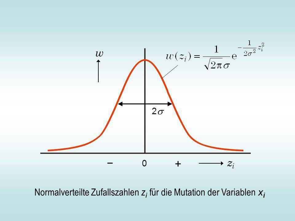 Normalverteilte Zufallszahlen z i für die Mutation der Variablen x i zizi w 0 2 +