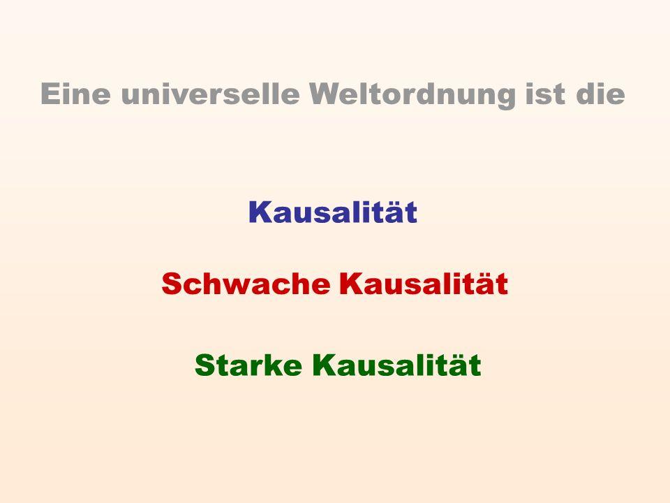 Kausalität Schwache Kausalität Starke Kausalität Eine universelle Weltordnung ist die