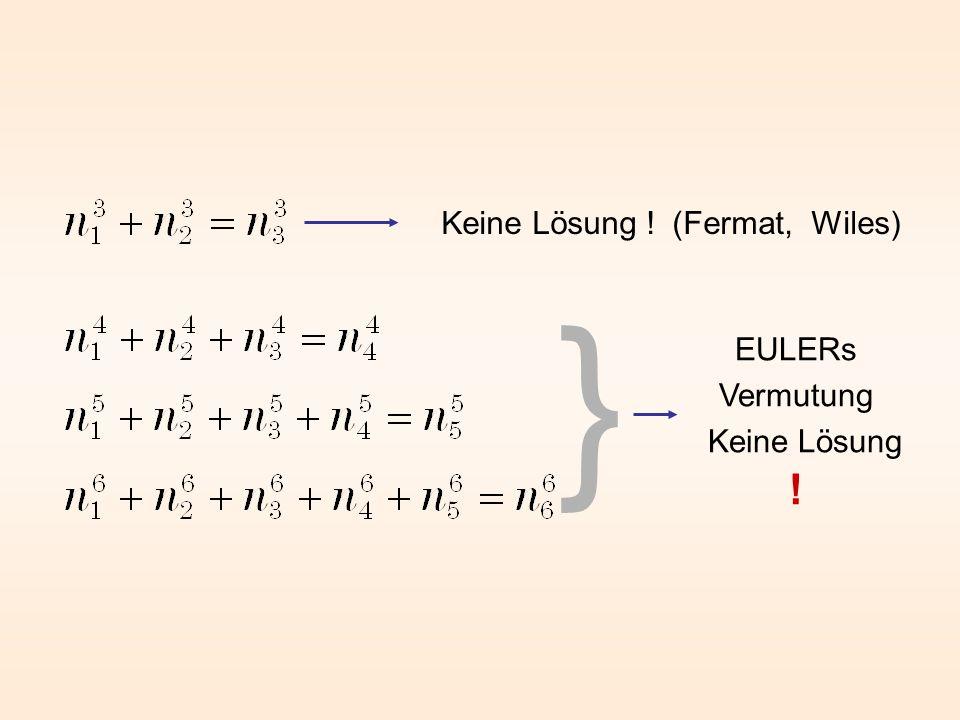 } Keine Lösung ! (Fermat, Wiles) EULERs Vermutung Keine Lösung !