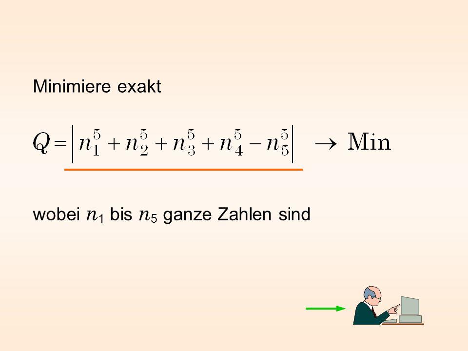 Minimiere exakt wobei n 1 bis n 5 ganze Zahlen sind