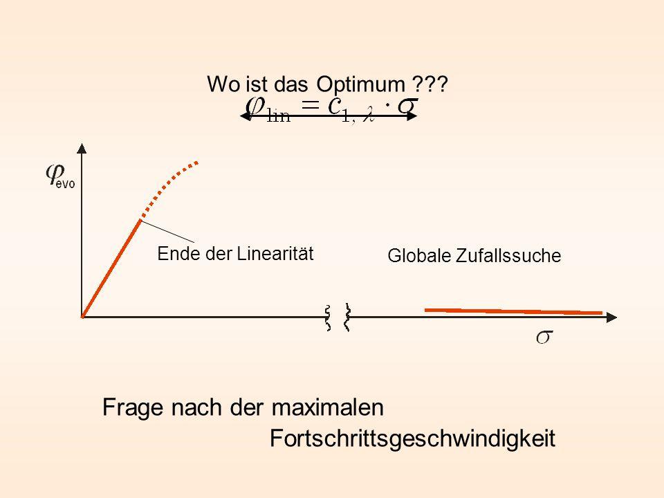 Ende der Linearität Frage nach der maximalen Fortschrittsgeschwindigkeit Wo ist das Optimum ??? Globale Zufallssuche
