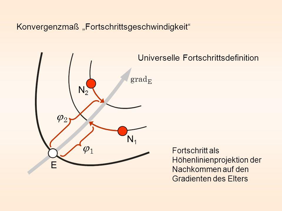Konvergenzmaß Fortschrittsgeschwindigkeit N1N1 1 N2N2 2 Fortschritt als Höhenlinienprojektion der Nachkommen auf den Gradienten des Elters Universelle