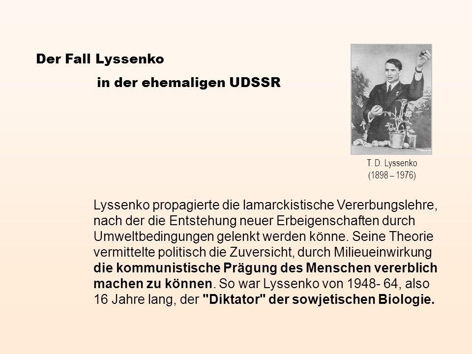 Lyssenko propagierte die lamarckistische Vererbungslehre, nach der die Entstehung neuer Erbeigenschaften durch Umweltbedingungen gelenkt werden könne.