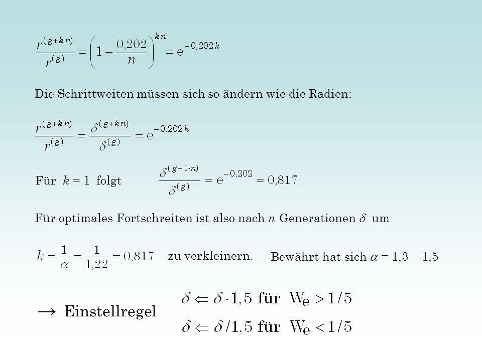 Die Schrittweiten müssen sich so ändern wie die Radien: Für k = 1 folgt Für optimales Fortschreiten ist also nach n Generationen um zu verkleinern. Be