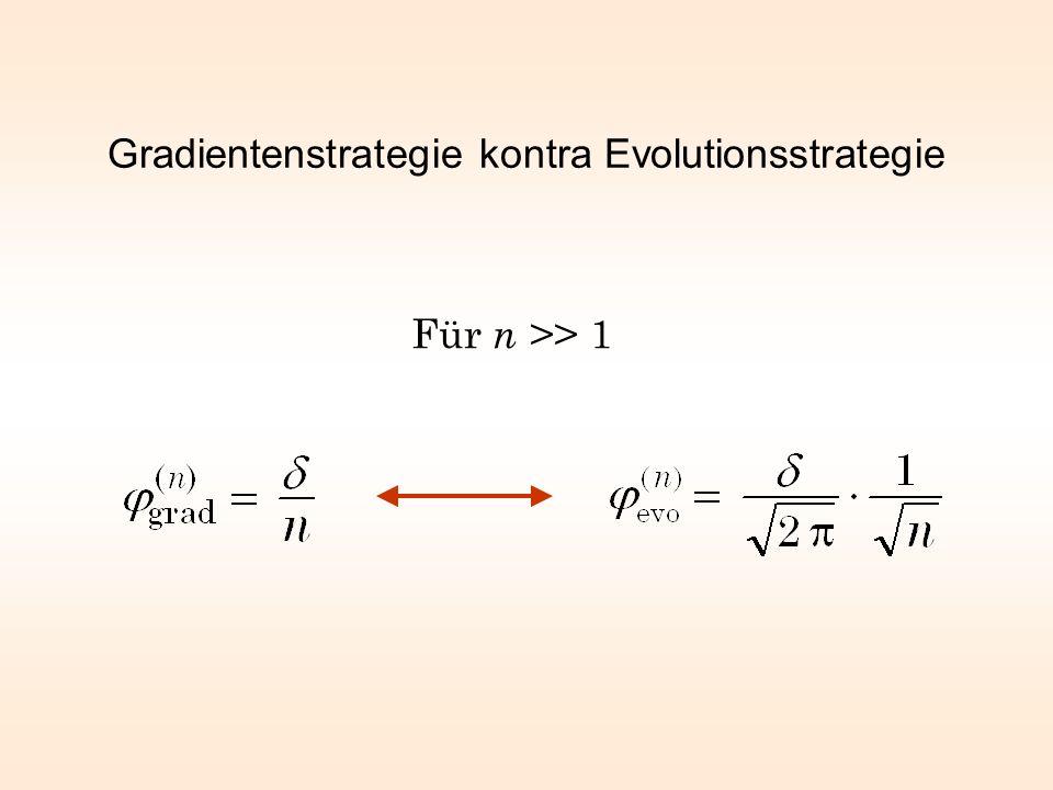 Gradientenstrategie kontra Evolutionsstrategie Für n >> 1