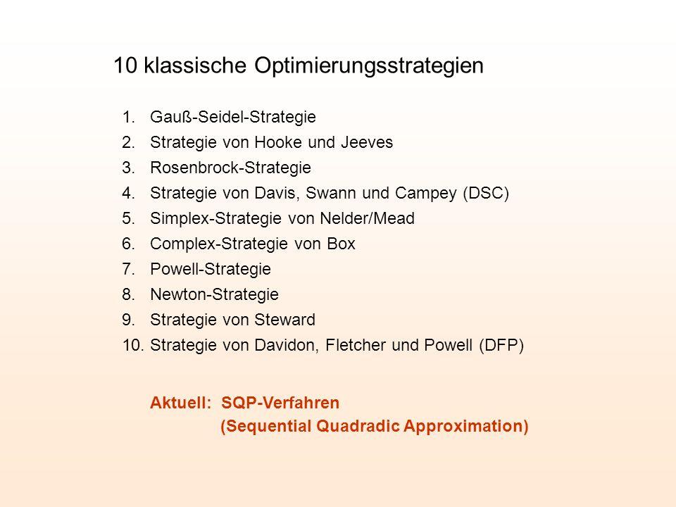 10 klassische Optimierungsstrategien 1. Gauß-Seidel-Strategie 2.