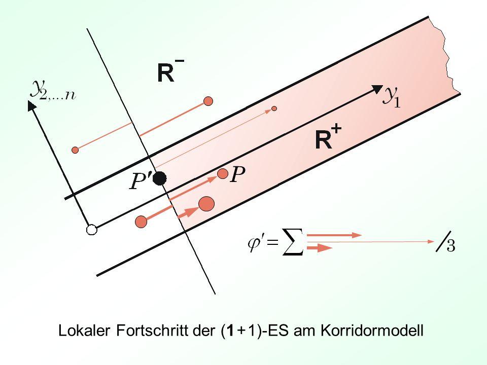 Lokaler Fortschritt der (1 + 1)-ES am Korridormodell 3 P