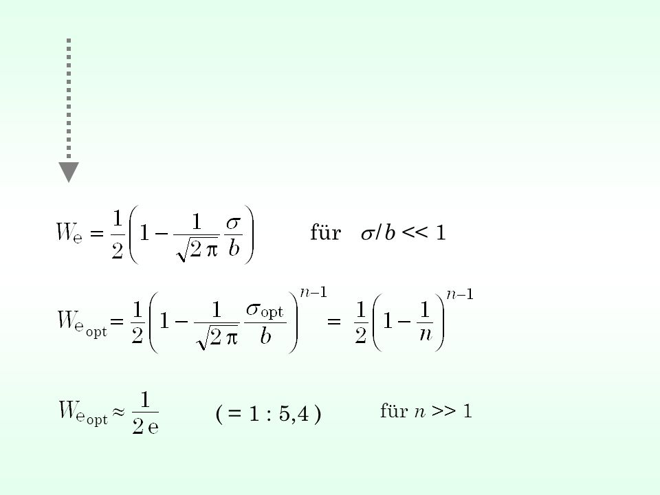 für / b << 1 opt ( = 1 : 5,4 ) für n >> 1