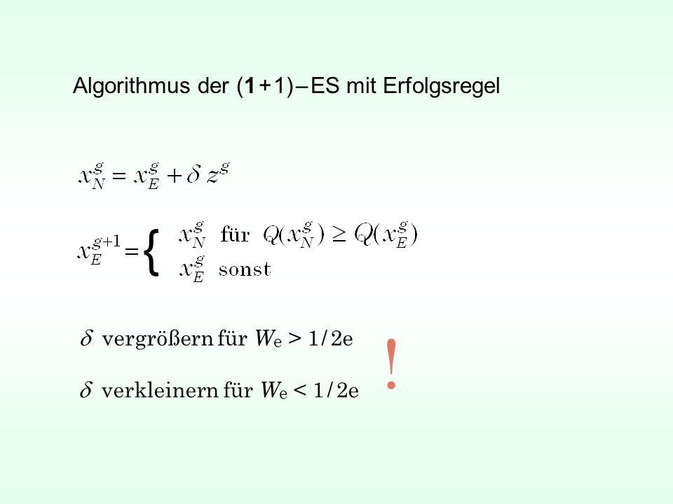 Algorithmus der (1 + 1) – ES mit Erfolgsregel { vergrößern für W e > 1 / 2e verkleinern für W e < 1 / 2e !