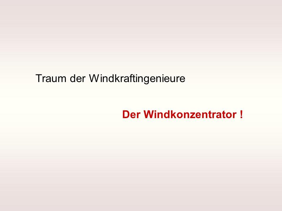 Trichter Paradoxon Aus folgt (Kontinuitätsgleichung !) Wenn der Wind den Trichter nicht umströmen würde Windleistung: