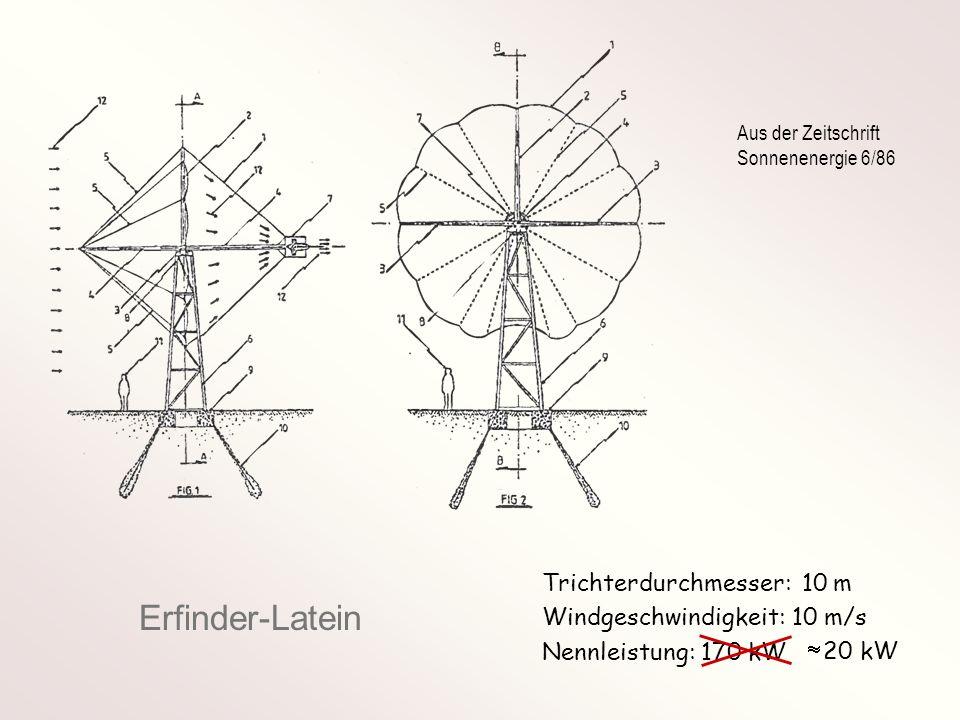 Definition - Konzentrationsfaktor Rotorleistung mit Konzentrator Rotorleistung ohne Konzentrator K mit c a = Auftriebsbeiwert des Konzentratorflügels t = Tiefe des Konzentratorflügels z = Zahl der Konzentratorflügel d = Durchmesser der inneren Wirbelspule D = Durchmesser der äußeren Wirbelspule