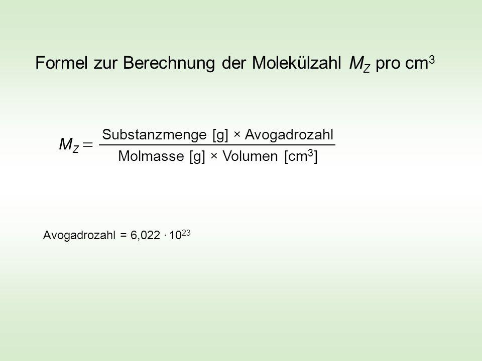 Formel zur Berechnung der Molekülzahl M Z pro cm 3 M Z Substanzmenge [g] × Avogadrozahl Molmasse [g] × Volumen [cm 3 ] Avogadrozahl = 6,022 · 10 23