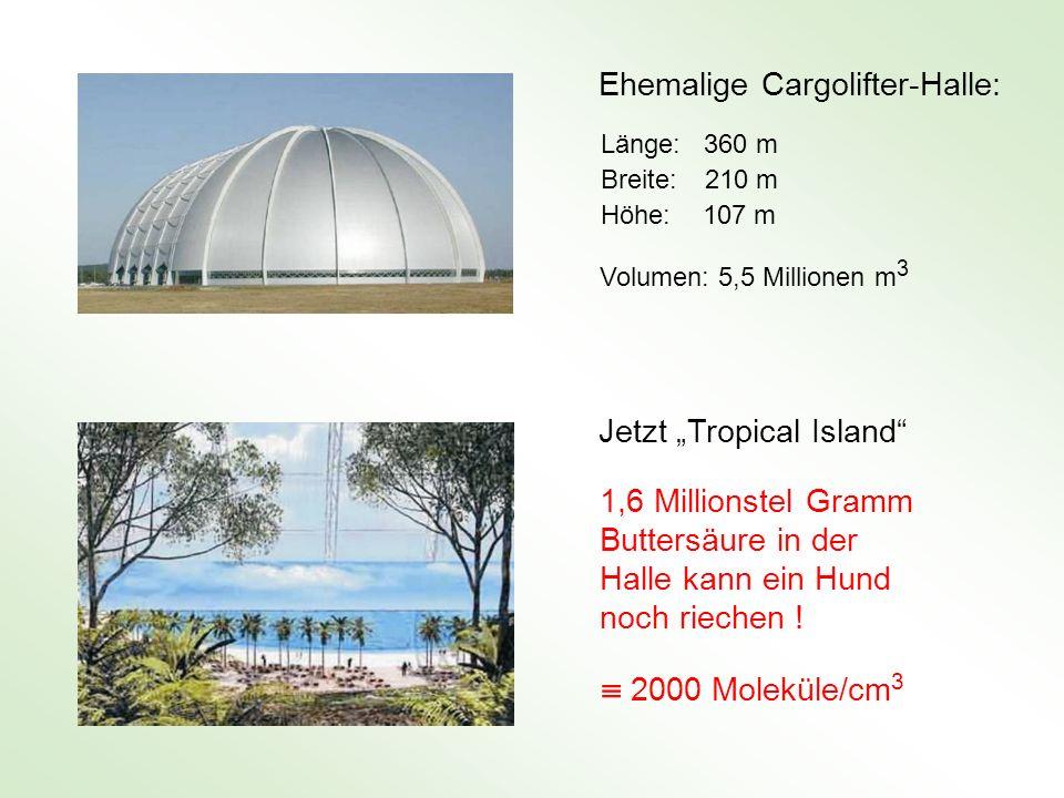 Ehemalige Cargolifter-Halle: Länge: 360 m Breite: 210 m Höhe: 107 m Volumen: 5,5 Millionen m 3 1,6 Millionstel Gramm Buttersäure in der Halle kann ein