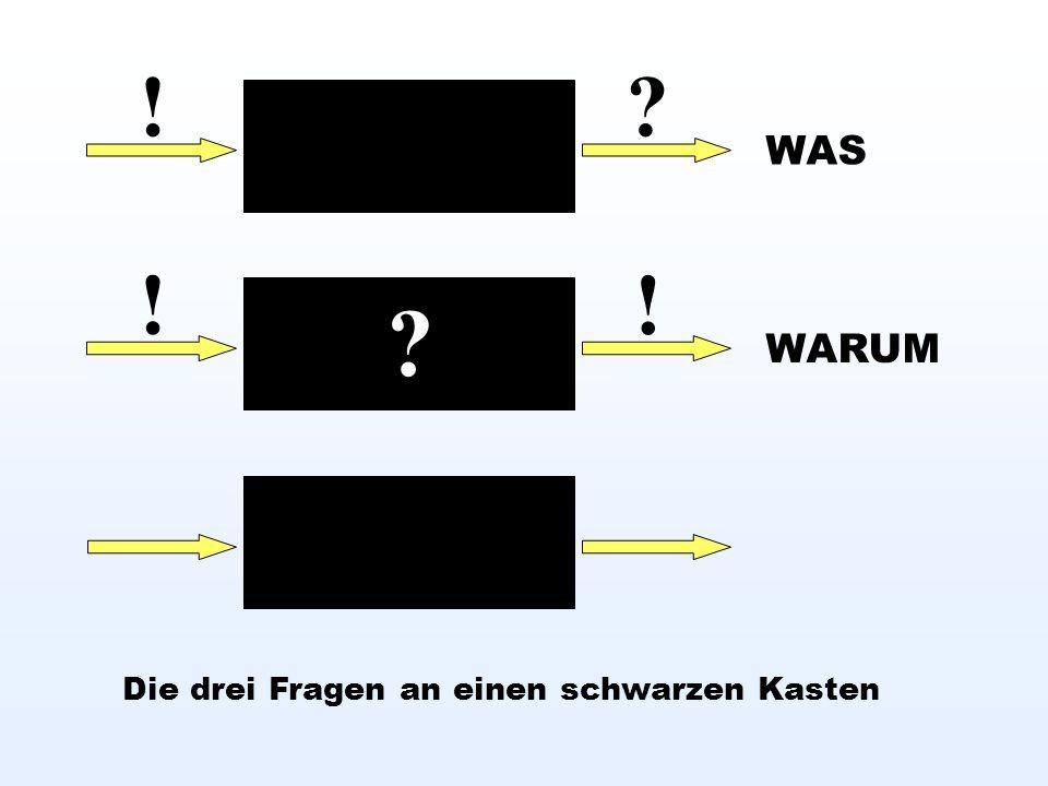 ! ! ! Die drei Fragen an einen schwarzen Kasten WAS WARUM