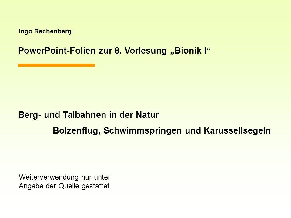 Ingo Rechenberg PowerPoint-Folien zur 8. Vorlesung Bionik I Berg- und Talbahnen in der Natur Bolzenflug, Schwimmspringen und Karussellsegeln Weiterver