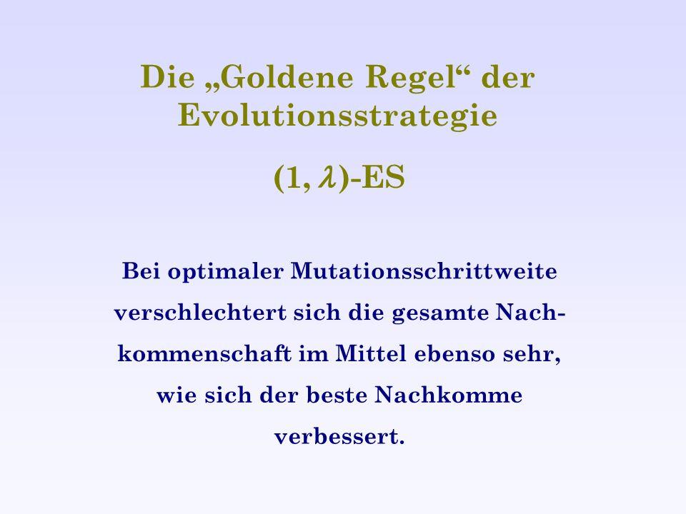 Die Goldene Regel der Evolutionsstrategie (1, )-ES Bei optimaler Mutationsschrittweite verschlechtert sich die gesamte Nach- kommenschaft im Mittel eb
