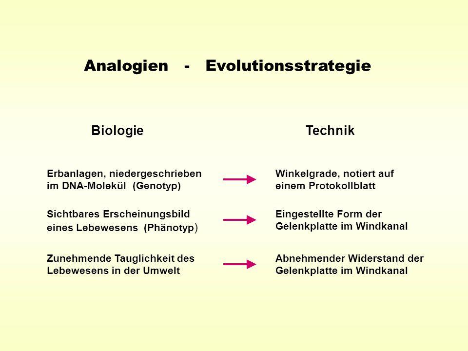 Analogien - Evolutionsstrategie BiologieTechnik Erbanlagen, niedergeschrieben im DNA-Molekül (Genotyp) Winkelgrade, notiert auf einem Protokollblatt S