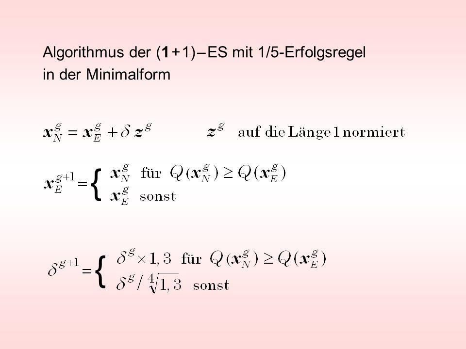 Algorithmus der (1 + 1) – ES mit 1/5-Erfolgsregel in der Minimalform { {