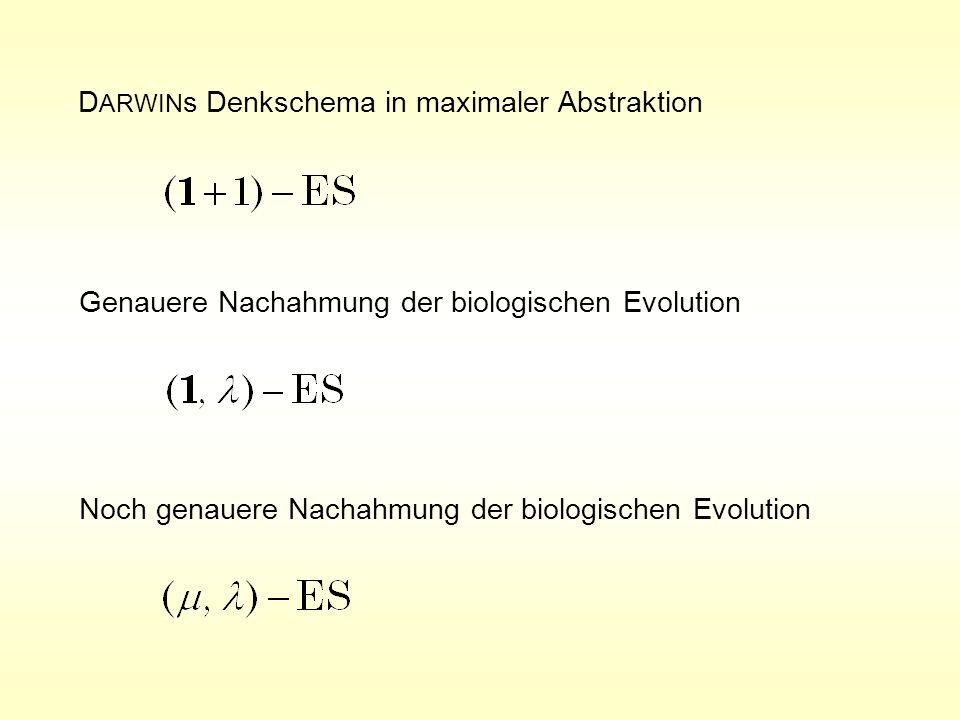 Basis-Algorithmus der (, ) - Evolutionsstrategie B1 = Qualitätsmäßig bestes Individuum B2 = Qualitätsmäßig 2.