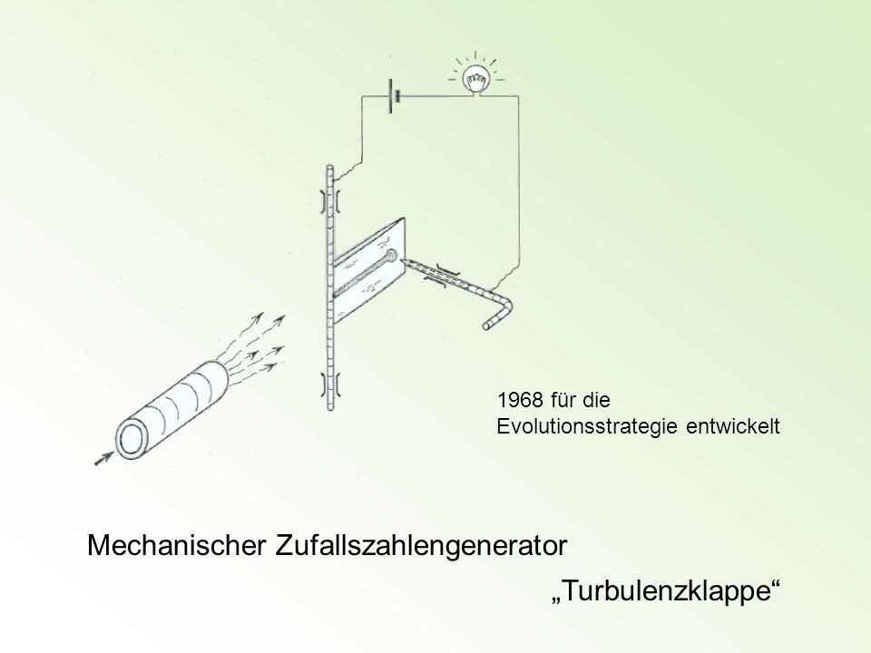 Mechanischer Zufallszahlengenerator Turbulenzklappe 1968 für die Evolutionsstrategie entwickelt