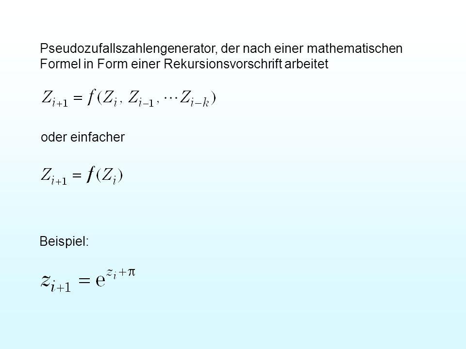 Pseudozufallszahlengenerator, der nach einer mathematischen Formel in Form einer Rekursionsvorschrift arbeitet oder einfacher Beispiel:
