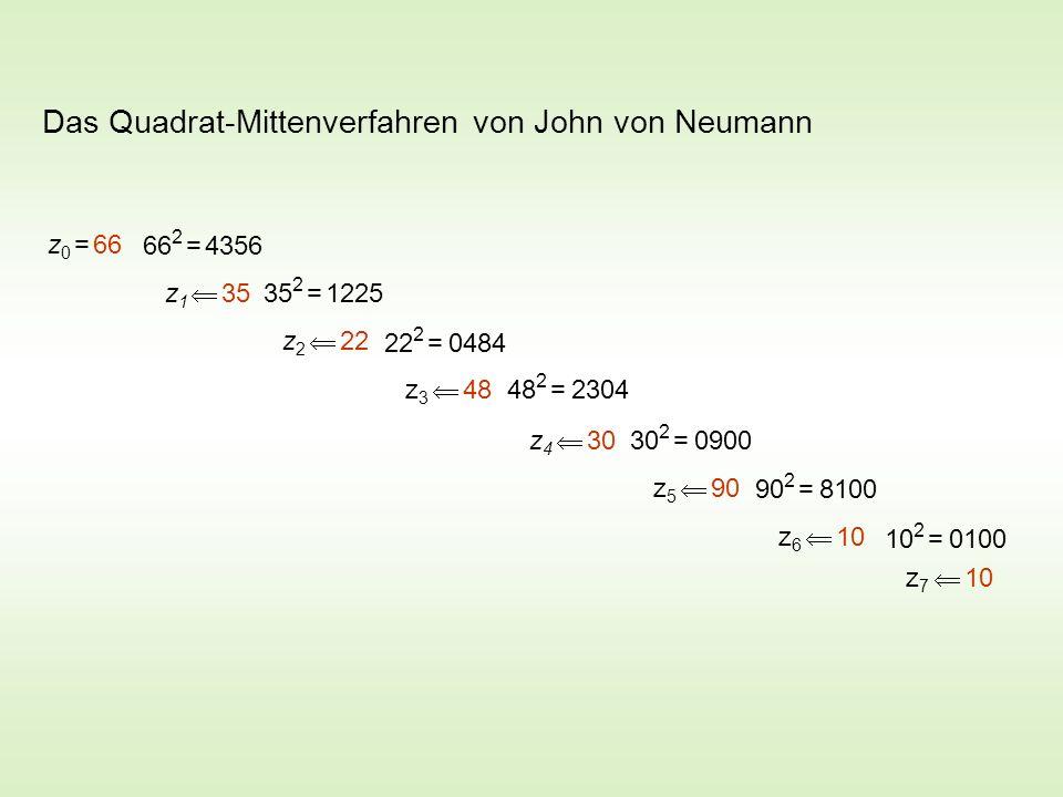 Das Quadrat-Mittenverfahren von John von Neumann z 0 = 66 66 2 = 4356 z 1 35 35 2 = 1225 z 2 22 22 2 = 0484 z 3 48 48 2 = 2304 z 4 30 30 2 = 0900 z 5 90 90 2 = 8100 z 6 10 10 2 = 0100 z 7 10