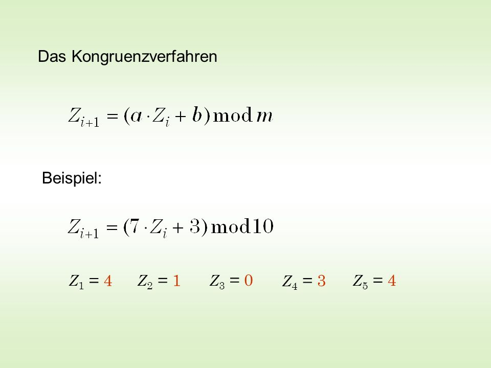 Das Kongruenzverfahren Beispiel: Z 1 = 4 Z 2 = 1 Z 4 = 3 Z 3 = 0 Z 5 = 4