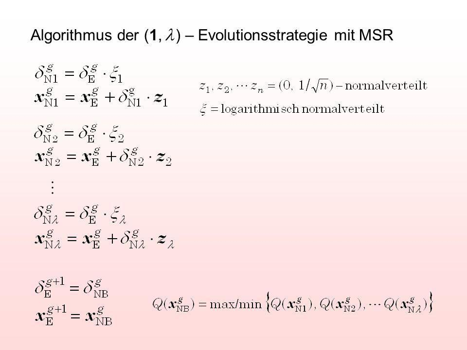 Algorithmus der (1, ) – Evolutionsstrategie mit MSR