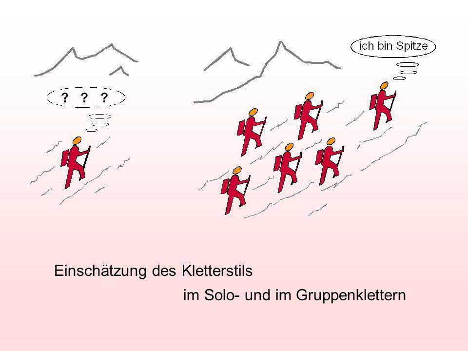 Einschätzung des Kletterstils im Solo- und im Gruppenklettern