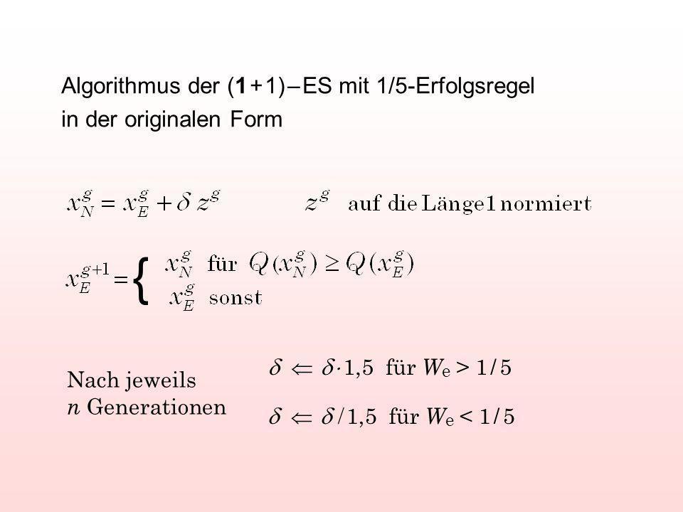 Algorithmus der (1 + 1) – ES mit 1/5-Erfolgsregel in der originalen Form { 1,5 für W e > 1 / 5 1,5 für W e < 1 / 5 Nach jeweils n Generationen