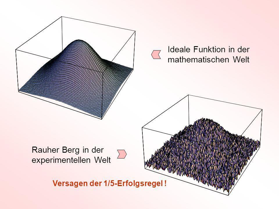 Ideale Funktion in der mathematischen Welt Rauher Berg in der experimentellen Welt Versagen der 1/5-Erfolgsregel !