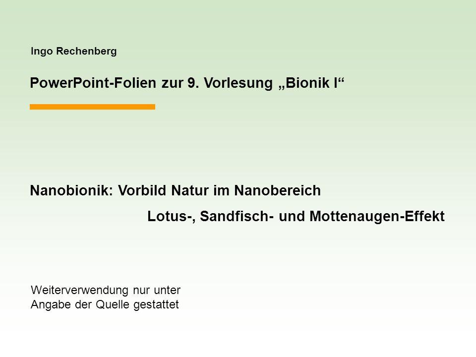Ingo Rechenberg PowerPoint-Folien zur 9. Vorlesung Bionik I Nanobionik: Vorbild Natur im Nanobereich Lotus-, Sandfisch- und Mottenaugen-Effekt Weiterv