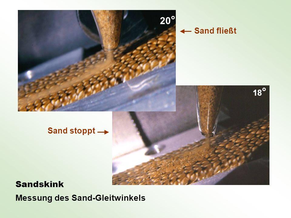 Sandskink Messung des Sand-Gleitwinkels Sand fließt Sand stoppt 20 ° 18 °