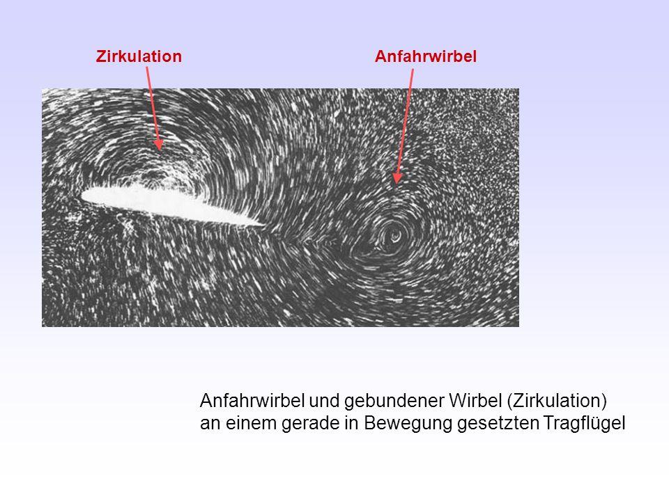 Anfahrwirbel und gebundener Wirbel (Zirkulation) an einem gerade in Bewegung gesetzten Tragflügel Anfahrwirbel Zirkulation