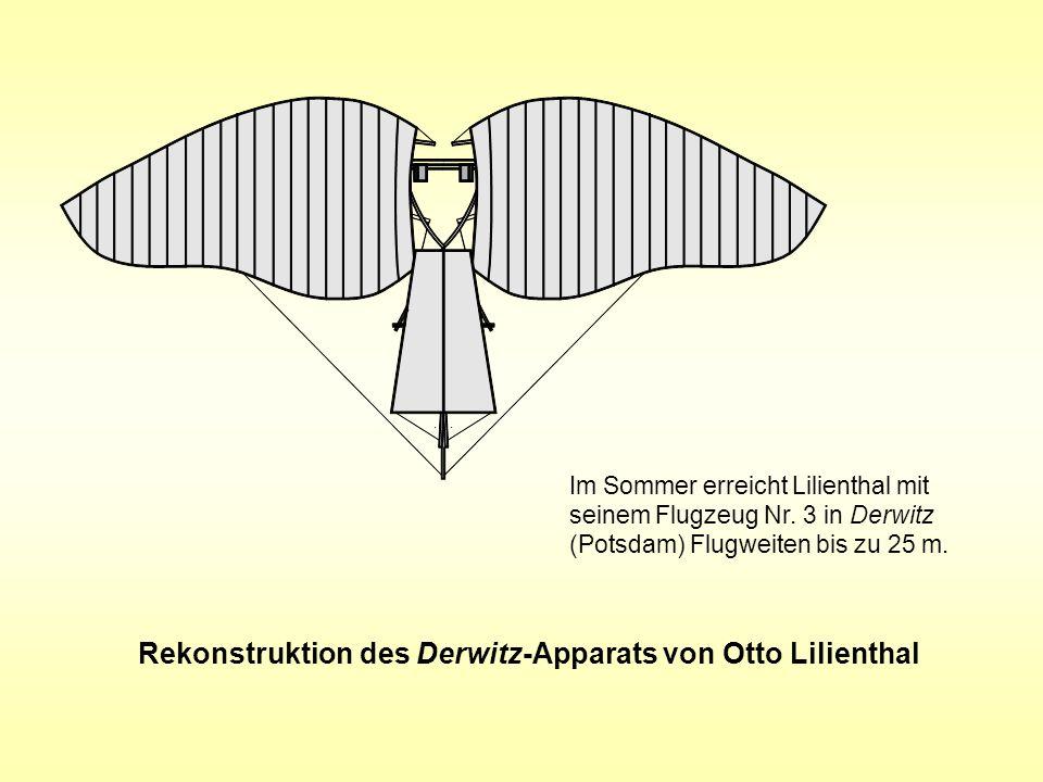 Rekonstruktion des Derwitz-Apparats von Otto Lilienthal Im Sommer erreicht Lilienthal mit seinem Flugzeug Nr. 3 in Derwitz (Potsdam) Flugweiten bis zu