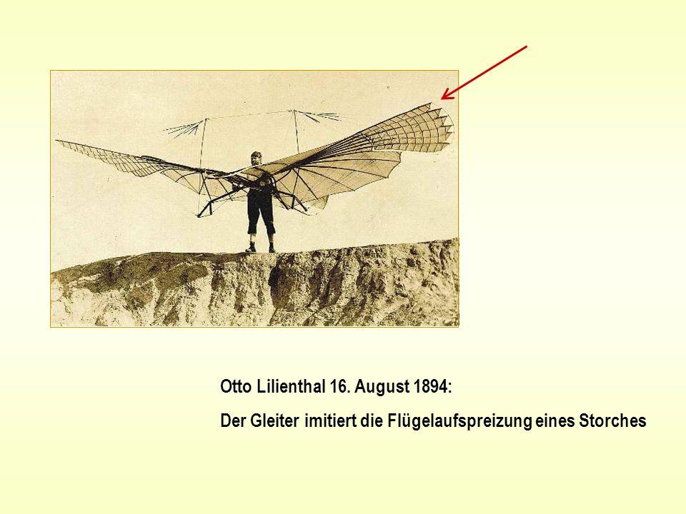 Otto Lilienthal 16. August 1894: Der Gleiter imitiert die Flügelaufspreizung eines Storches