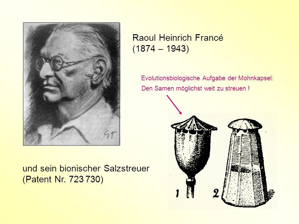 Raoul Heinrich Francé (1874 – 1943) und sein bionischer Salzstreuer (Patent Nr. 723 730) Evolutionsbiologische Aufgabe der Mohnkapsel: Den Samen mögli