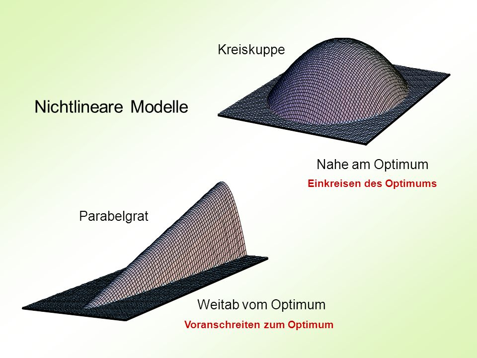 Nichtlineare Modelle Weitab vom Optimum Nahe am Optimum Parabelgrat Kreiskuppe Einkreisen des Optimums Voranschreiten zum Optimum