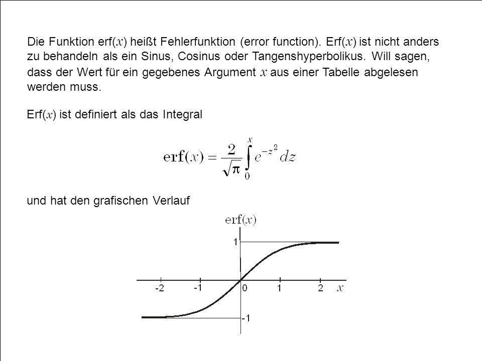 Die Funktion erf( x ) heißt Fehlerfunktion (error function). Erf( x ) ist nicht anders zu behandeln als ein Sinus, Cosinus oder Tangenshyperbolikus. W