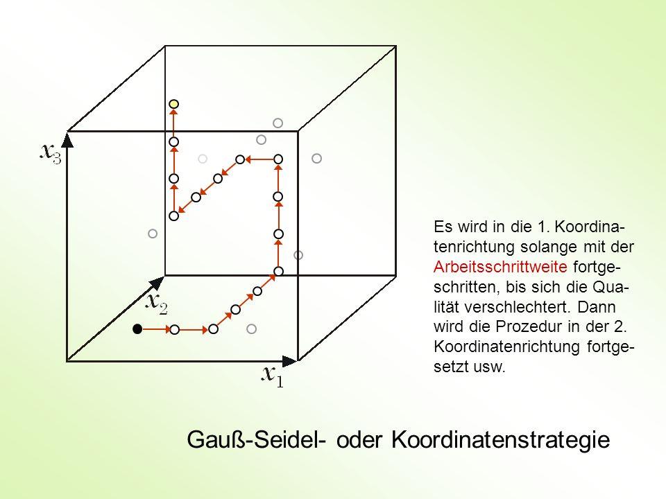 Gauß-Seidel- oder Koordinatenstrategie Es wird in die 1. Koordina- tenrichtung solange mit der Arbeitsschrittweite fortge- schritten, bis sich die Qua