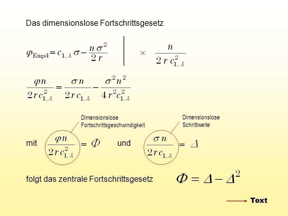 Das dimensionslose Fortschrittsgesetz mitund folgt das zentrale Fortschrittsgesetz Dimensionslose Fortschrittsgeschwindigkeit Dimensionslose Schrittwe