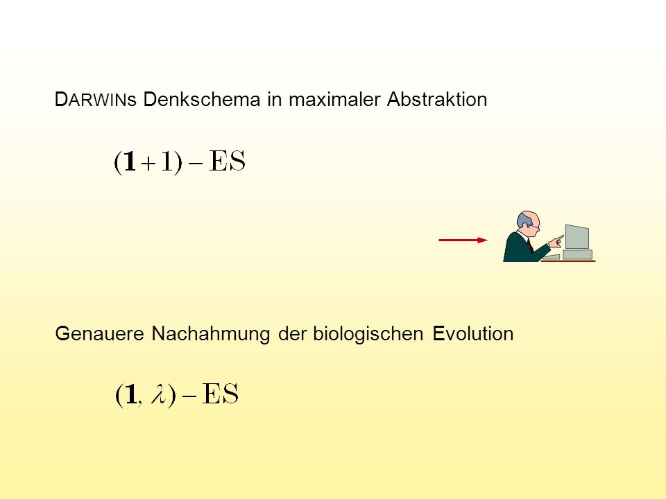 M ATLAB -Programm der (1, ) ES v=100; de=1; xe=ones(v,1); for g=1:1000 qb=1e+20; for k=1:10 end Generierung der Nachkommenschleife