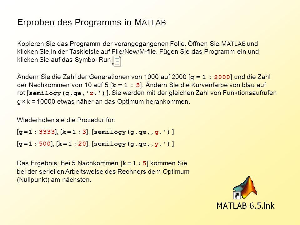 Erproben des Programms in M ATLAB Kopieren Sie das Programm der vorangegangenen Folie. Öffnen Sie M ATLAB und klicken Sie in der Taskleiste auf File/N