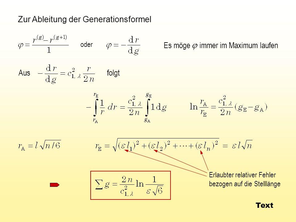 Zur Ableitung der Generationsformel Es möge immer im Maximum laufen folgt Aus Erlaubter relativer Fehler bezogen auf die Stelllänge oder Text