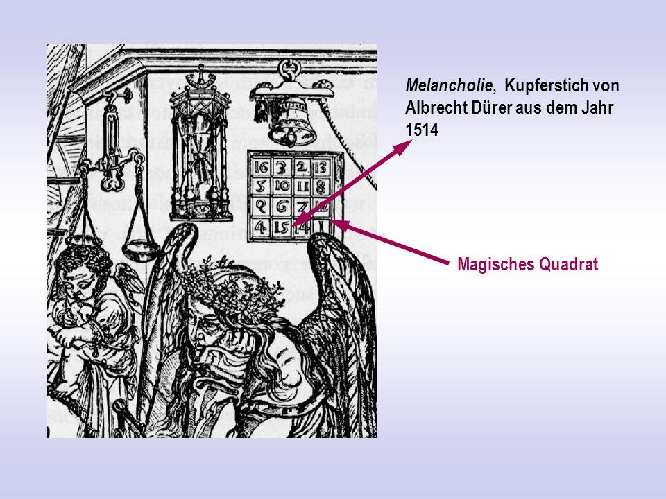 Melancholie, Kupferstich von Albrecht Dürer aus dem Jahr 1514 Magisches Quadrat